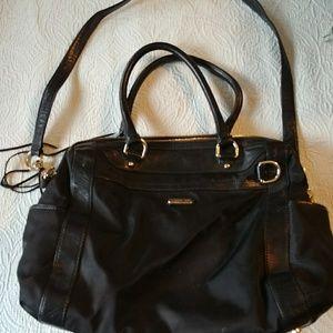 Rebecca Minkoff black vinyl and leather diaper bag